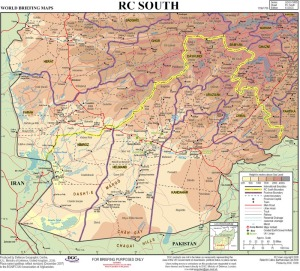 Map of Southern Afghanistan, Helmand, Marjah